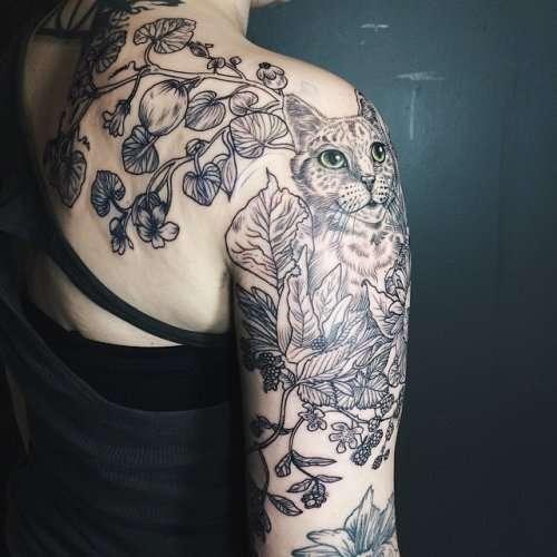 Татуировки в стиле рисунков из прошлого от Пони Рейнхардт (15 фото)