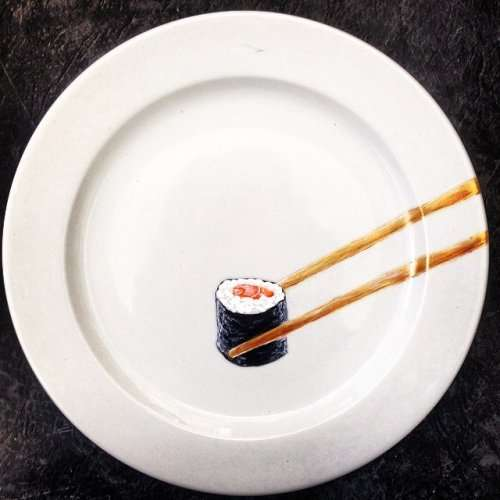 Реалистичные блюда на тарелках от Жаклин Пуарье (17 фото)