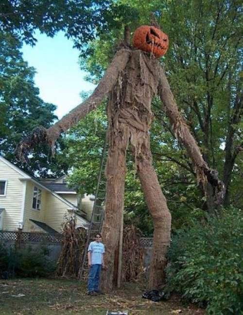 Жуткие и ужасные декорации на Хэллоуин для дома и улицы (32 фото)