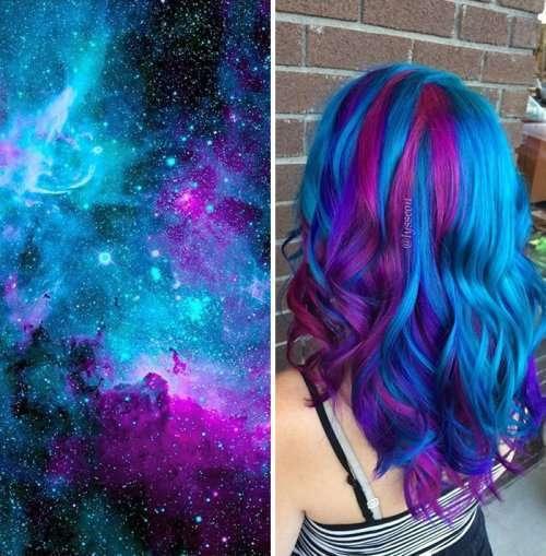 Новый модный тренд: галактики в волосах (24 фото)