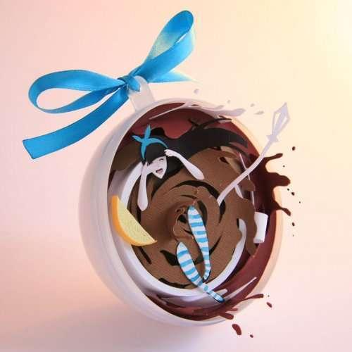 """Бумажные ёлочные игрушки Марины Адамовой, вдохновлённые """"Алисой в стране Чудес"""" (7 фото)"""