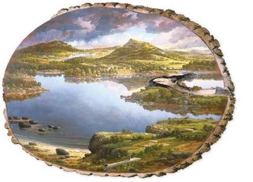 Живописные пейзажи на срезе брёвен (16 фото)