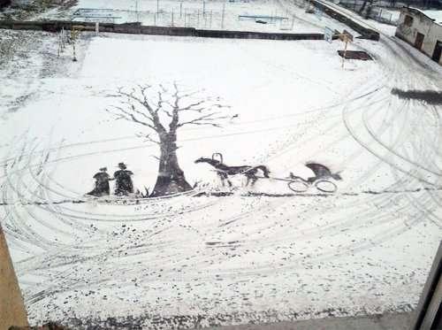 Снег, вдохновляющий на творчество (7 фото)