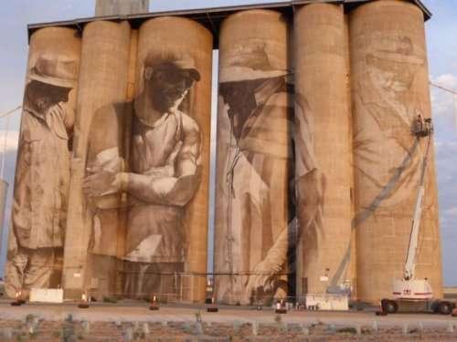 Стрит-арт на заброшенном зернохранилище в Австралии (5 фото + видео)
