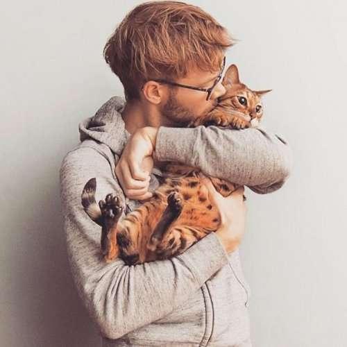 Две женские слабости в одном: симпатичные парни с котятами (24 фото)